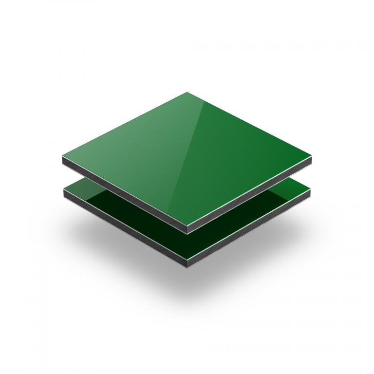 Green aluminium composite panel RAL 6024