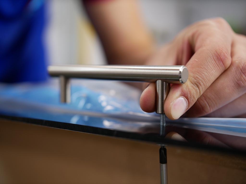 Acrylic footstool tray mount handles