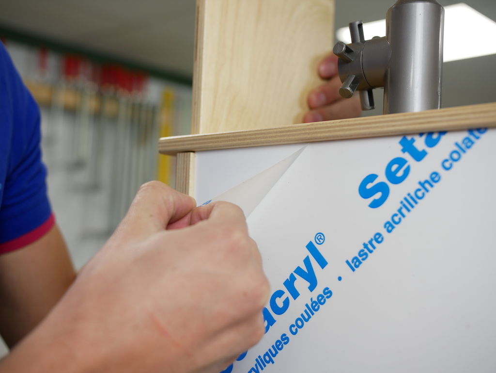 IKEA play kitchen hack remove foil from acrylic sheet