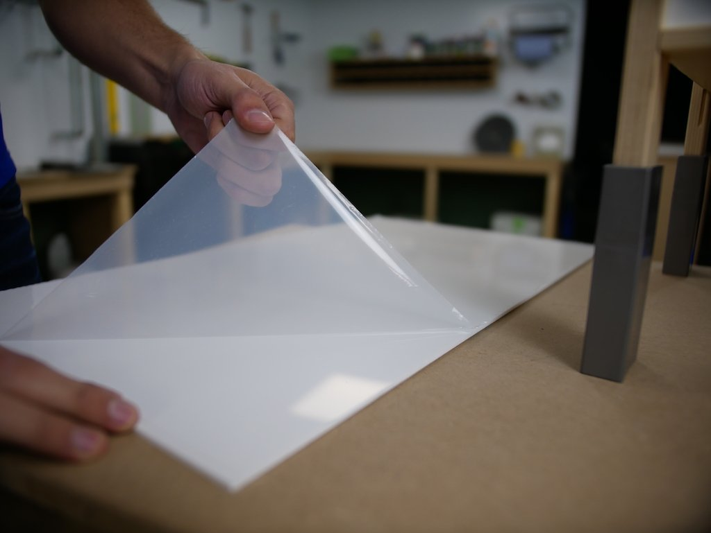 IKEA play kitchen hack remove protective film from acrylic sheet