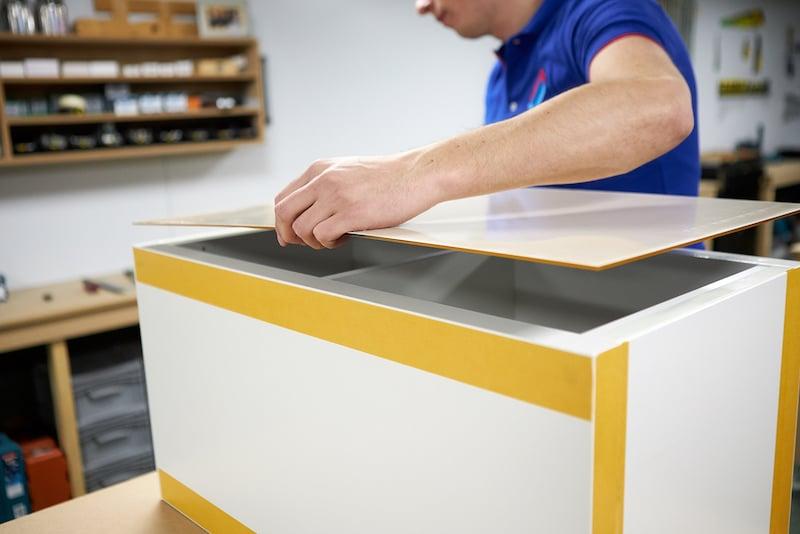 Applying acrylic sheet to IKEA Kallax pedestal