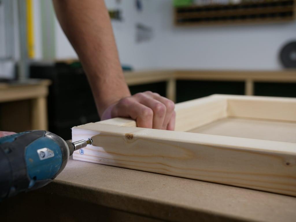Parcel box drilling frame