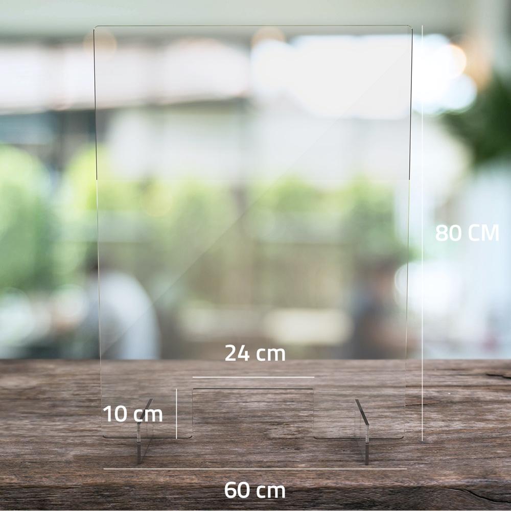 Transparent Counter Screen Shield 60cm Wide X 80cm High