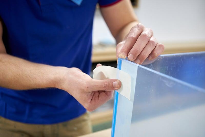 DIY acrylic aquarium secure with masking tape