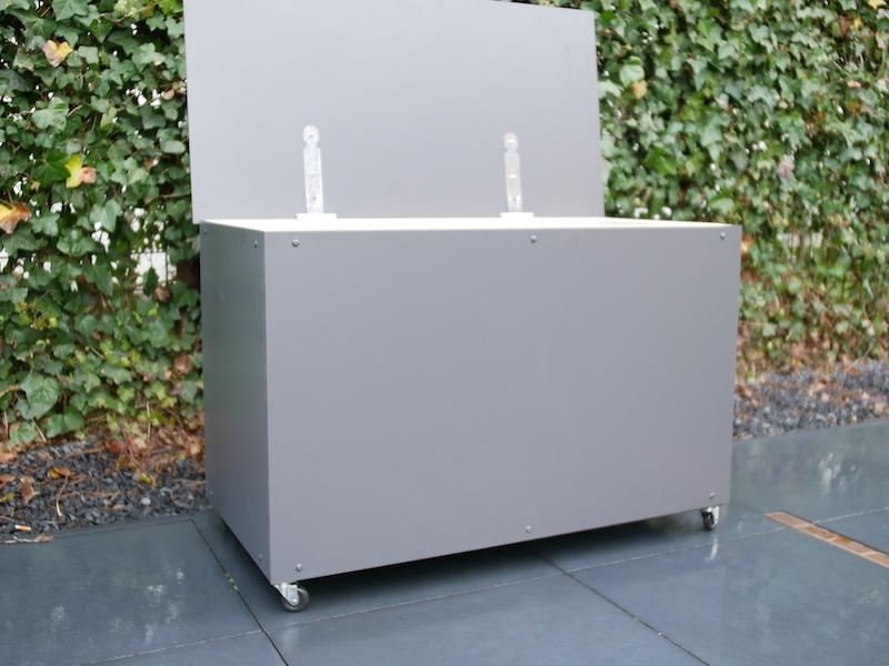 DIY outdoor cushion storage box open