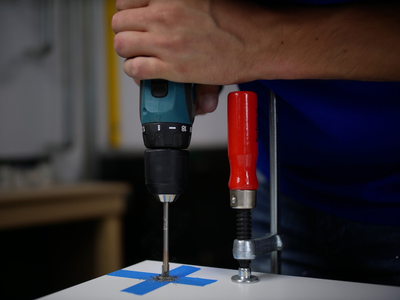 Drilling HPL worktop