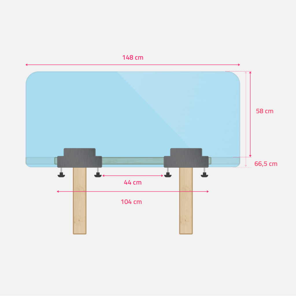 Sizes of perspex desk shield
