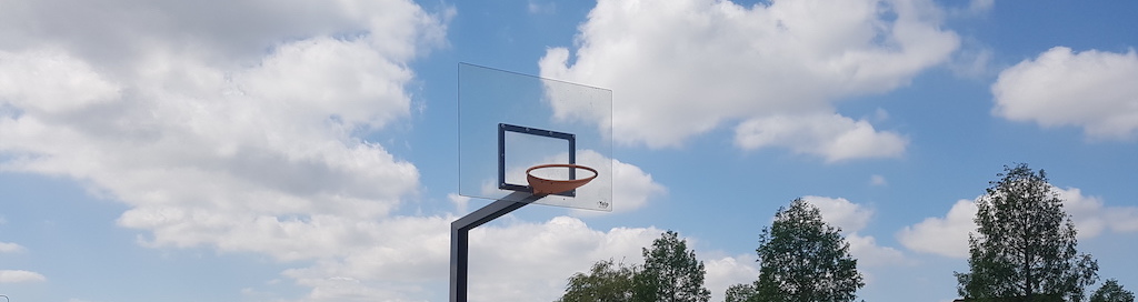 Basket ball field with polycarbonate backboard
