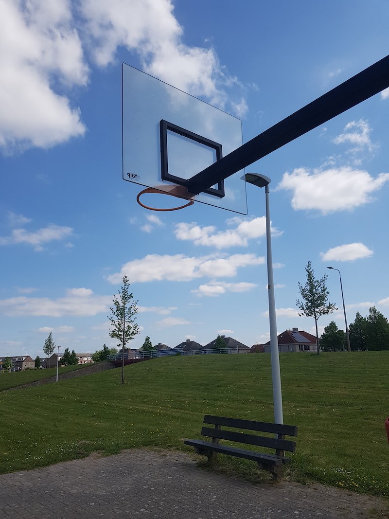 Basketball backboard polycarbonate backside