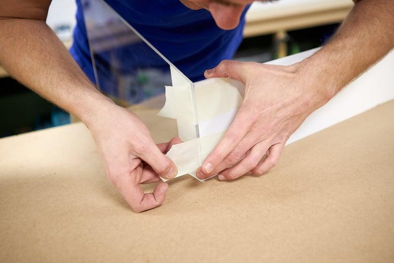 DIY mini greenhouse assemble acrylic sheets with masking tape