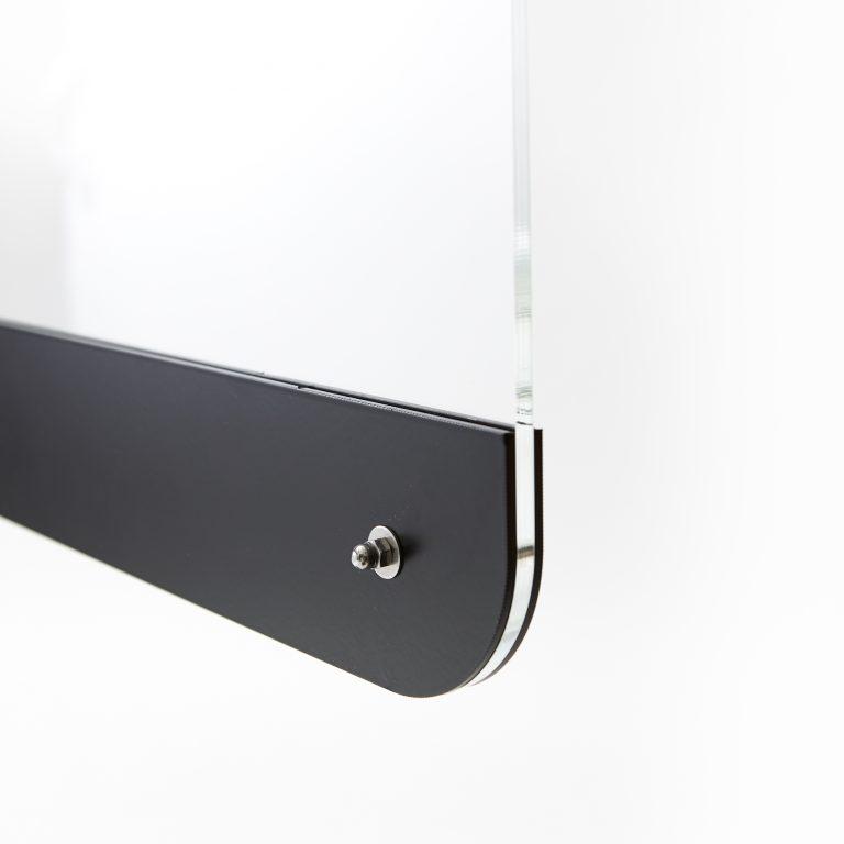 Perspex screen mounted on steel base