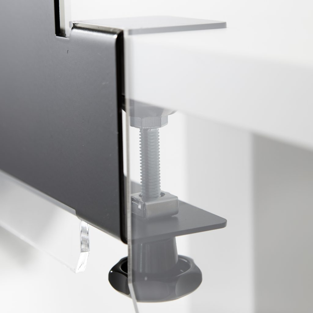Steel bracket with clamping system for acrylic sheet