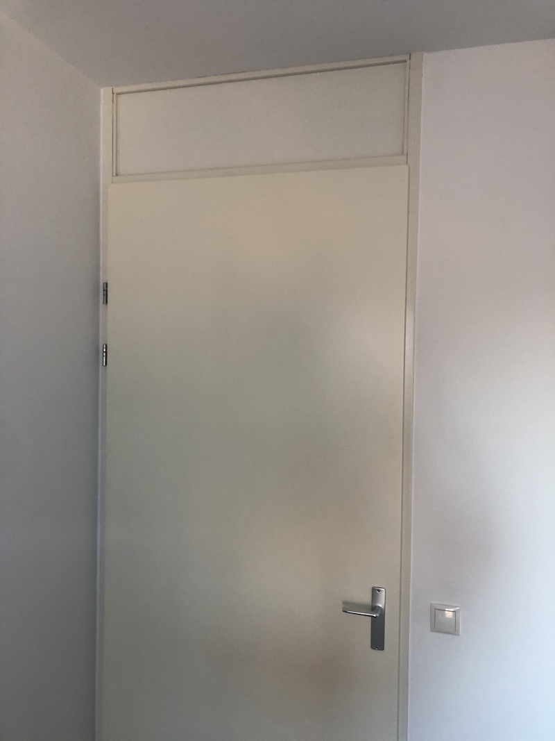 Door with transom window replaced with hpl