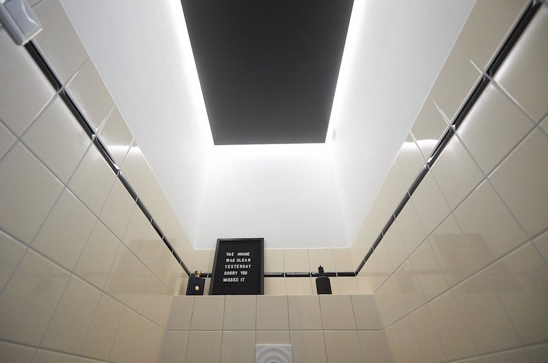 End result plastic ceiling toilet with led light on