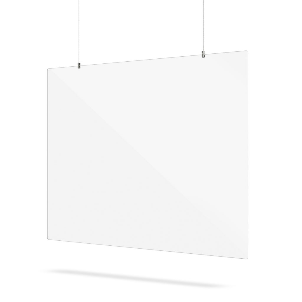 Hanging Perspex screen with suspension system