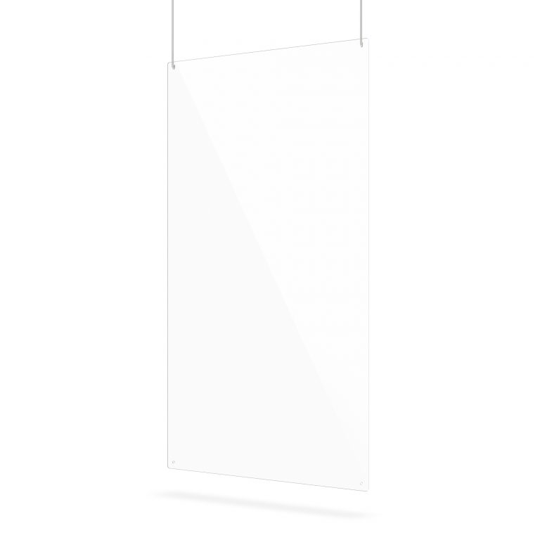 Large transparent hanging screen with suspension holes