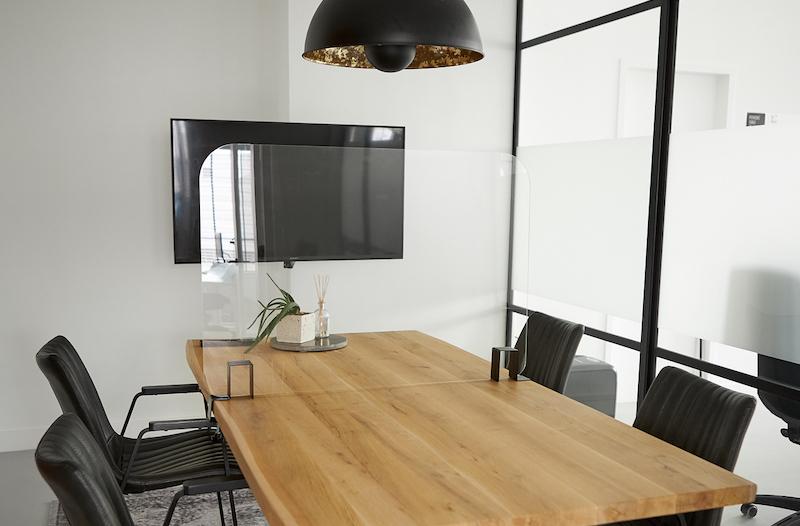 Perspex table screen for meetings