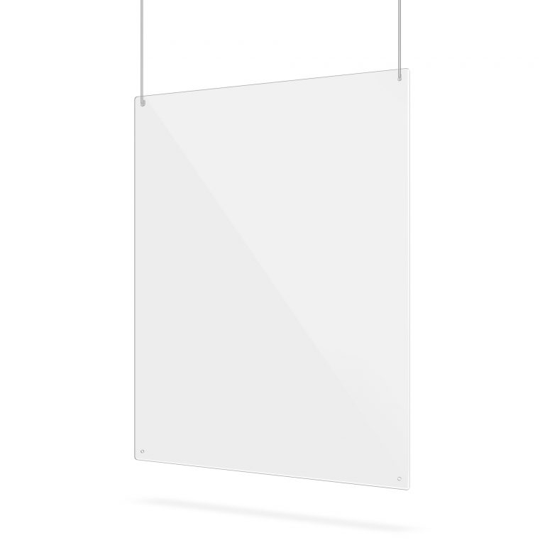 Transparent hanging screen with suspension holes