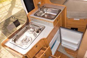 Convert van into camper kitchen